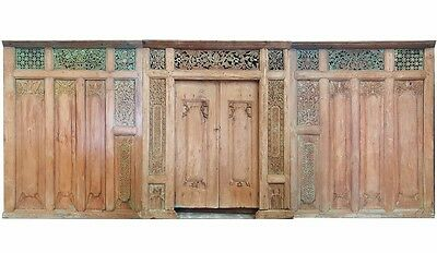 Large Balinese Original Antique Green Natural Timber Hand Carved Set of 3 - 20A