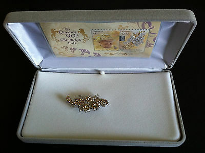 2016 Queens 90Th Birthday Wattle Brooch And Stamp Set Rare