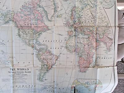Geographic Large Foldout Map of Africa 1922, & a Large World Foldout 1922,