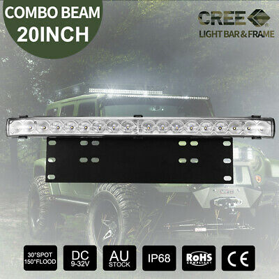 "20"" CREE LED Light Bar Combo Beam +Number Plate Frame Offroad 4WD Universal"