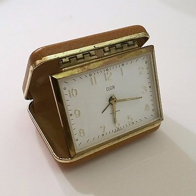 Vintage Elgin Germany Portable Wind Up Alarm Clock, Compact Travel Clam Shell