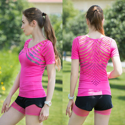 NEW Hollow sportsT-shirts GYM fitness tops Breathable women yoga short-sleeved