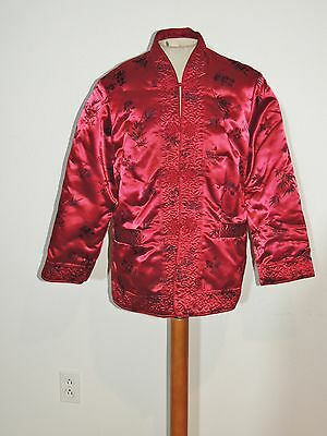 Vintage Red Brocade Silk Padded Chinese Jacket MED