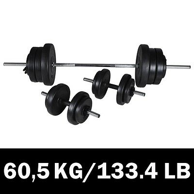 New 3pc Dumbbell Barbell Weight Set 60.5kg Home Gym Fitness Exercise Adjustable