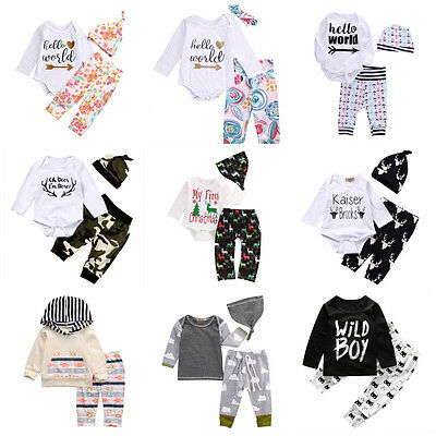 3PCS Set Newborn Baby Boys Girls Tops Rompers Pants Leggings Hat Outfits Clothes