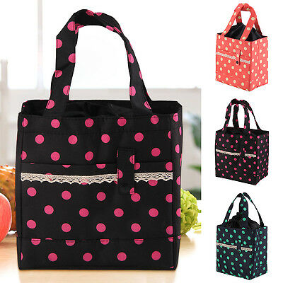 Insulated Wave Point Picnic Box Child Kids Carry Travel School Lunch Bag Storage