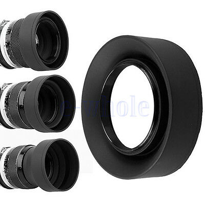 67mm 3-in-1 3-Stage Collapsible Rubber Lens Hood for Canon Nikon DSLR Camera EW