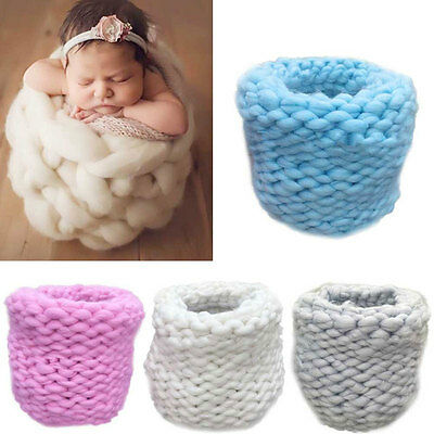 Newborn Photography Props Baby Blanket Knitting Braid Stuffer Eggshell Basket