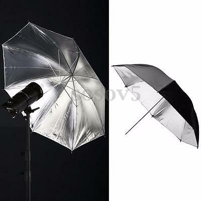 "110CM 43"" Black Silver Reflective Umbrella For Photography Light Studio Softbox"