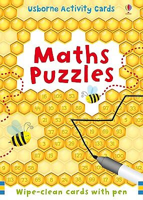 BNIP Usborne MATHS PUZZLES Wipe-clean cards with pen