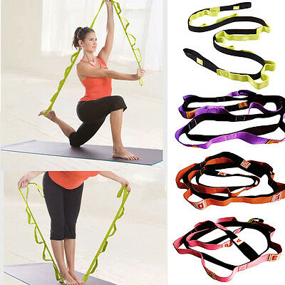 Yoga Exercise Sport Tension Elastic Stretching Strap with 10 Flexible Loops