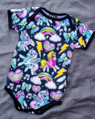 Six Bunnies Unicorns One Piece Romper Baby Cute MLP Punk Tattoo Colorful Rainbow