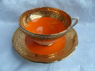 Sutherland, vintage Bright Orange & Gold Duo - Cabinet Teacup & Saucer REDUCED!