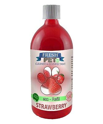 1L FRESH PET Eco DOSING BOTTLE Kennel Disinfectant - STRAWBERRY