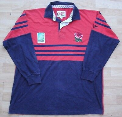 England 1991 Rugby World Cup Cotton Traders Change Shirt Jersey Top Xl Adult
