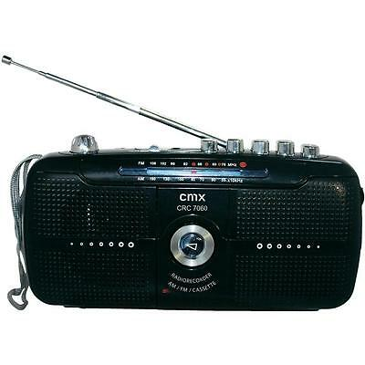 CMX CRC7060 Portable FM AM Radio with Cassette Recorder & Mic