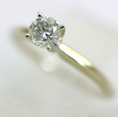 Diamond solitaire engagement ring 14K white gold 1 round brilliant .40CT size 7