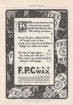 1902 Flame Proof Co New York NY Ad: FPC Wax Keeps the Irons Smooth Bright Clean