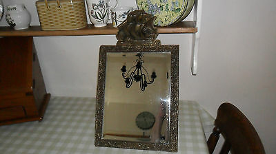 Vintage Small Ornate Bevelled Glass Brass Mirror With Top Ship Detail