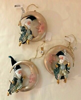 Katherine's Collection Set of Three Santa on Moon Ornaments 28-628321