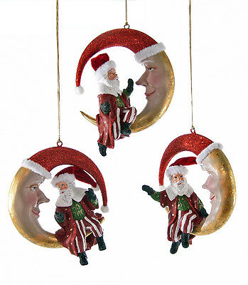 Katherine's Collection Set of Three Moon With Santa Ornaments 28-628105