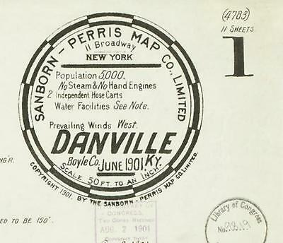 Danville, Kentucky~Sanborn Map© sheets~11 maps in color made in 1901