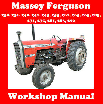 Massey Ferguson 230 231 240 241 243 253 261 263 Up To 290 Workshop Manual On Cd