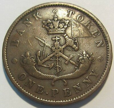 1852 One Penny Bank of Upper Canada - *Old Canadian Token