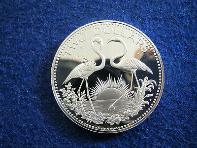 1974 Bahamas Silver Proof 2 Dollars - Flamingos - Free U S Shipping