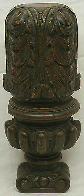 """17"""" Antique Carved Wood Post Decorative Sconce Wall Hanging"""