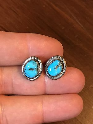 Pr Vtg Sand Cast Old Pawn Sterling Silver Indian Turquoise Earrings
