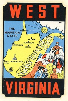 Vintage West Virginia Mountain State Travel Water Luggage Decal Lindgren Turner