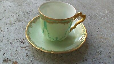Haviland France Demitasse Espresso Cup And Saucer Gold Rid Green