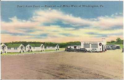 Sam's Auto Court and Amoco Service Rt 40 Claysville PA Postcard Gas Pumps