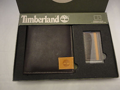 Nib Timberland Passport Holder And Magnetic Money Clip Brown Genuine Leather