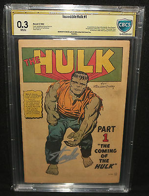 Incredible Hulk #1 - Signed by Stan Lee CBCS Signature Grade 0.3 Coverless 1962
