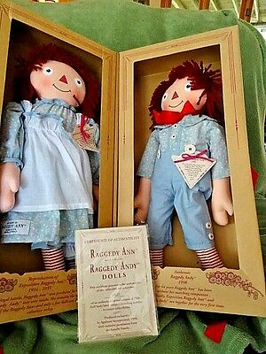 1998 Applause Raggedy Ann & Andy Plush Dolls 1934 Reproduction box set COA