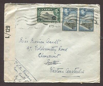 Ceylon 1943 15C Censored Airmail Cover Colombo To Claremont Western Australia