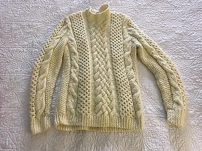 Vintage Hand Knit Cream Wool Fisherman Cable Knit Sweater / XS