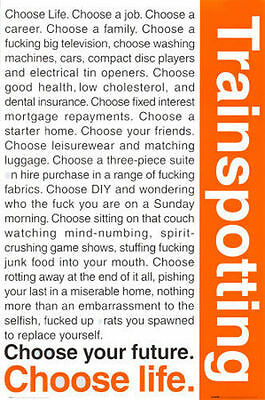 TRAINSPOTTING POSTER Film Quote = Choose Life = Danny Boyle Ewan McGregor NEW
