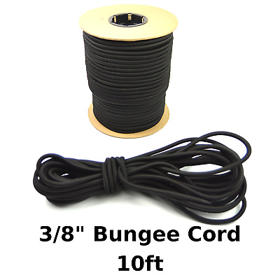 "10ft 3/8"" Black Bungee Cord Marine Grade Heavy Duty Shock Rope Tie Down Stretch"