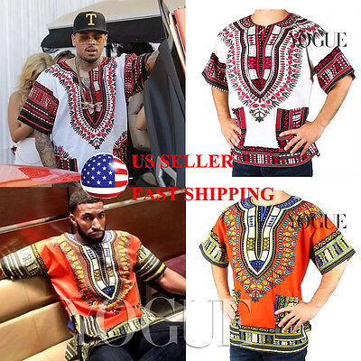 US SELLER Dashiki Mens Shirt African Top Hippie Vintage Boho Tribal Women Blouse