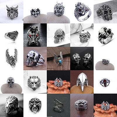 Punk Rock Men Stainless Steel Heavy Biker Finger Band Ring Cool Gothic Jewelry +