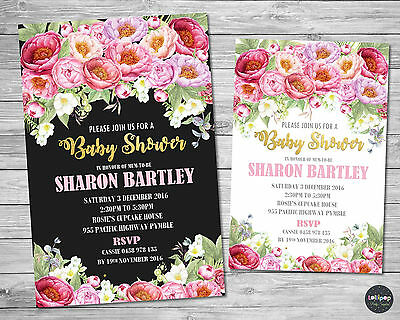Floral Flowers Baby Shower Personalised Invitation Invite Card Peonies Bridal