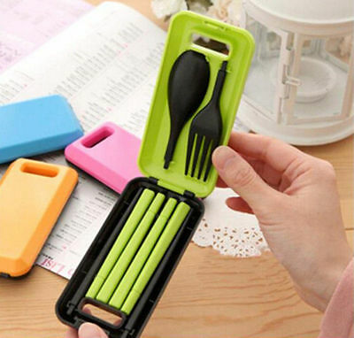 Spoon Fork Chopsticks Camping Portable Tableware Set for Travel Plastic Cutlery