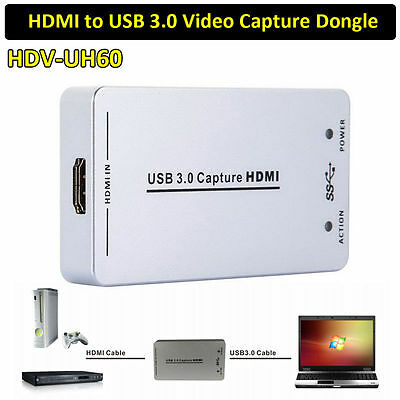 HDV-UH60 HDMI to USB3.0 Video Capture Dongle 1080P Card Box for Linux OS X AH234