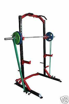 Half Power Rack Heavy Duty Chin Up + Spotters + Oly Weight Plate Storage