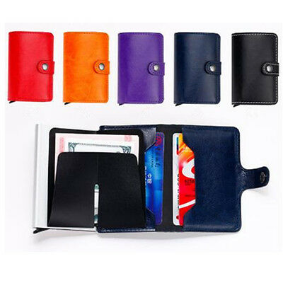 Fashion Leather ID Credit Card RFID Aluminum Protector Holder Purse Wallet