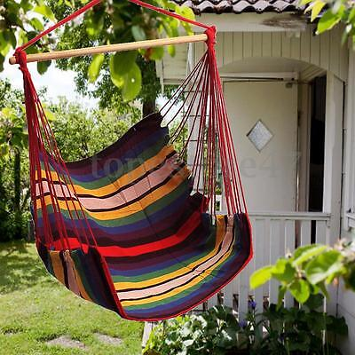 Garden Patio Porch Hanging Cotton Rope Swing Chair Seat Hammock Swinging Wood