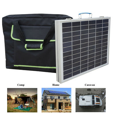 Portable 50W Folding Solar Panel Kit w/3A Controller &Bag for 12V Boat  Battery
